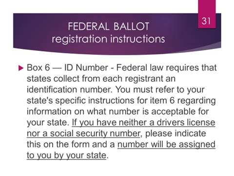 Federal Ballot Regfistration Instructions Box 6