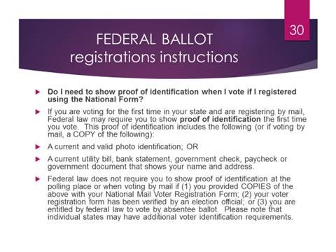 Federal Ballot Registration Instructions